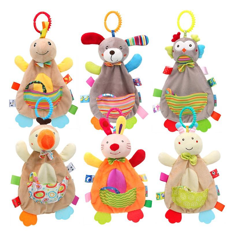 嬰幼兒玩具卡通動物公仔牙膠安撫巾可啃咬毛絨安撫帶口袋【IU贝婴屋】
