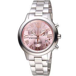 WICCA 璀璨時刻計時腕錶 BM1-211-91  粉