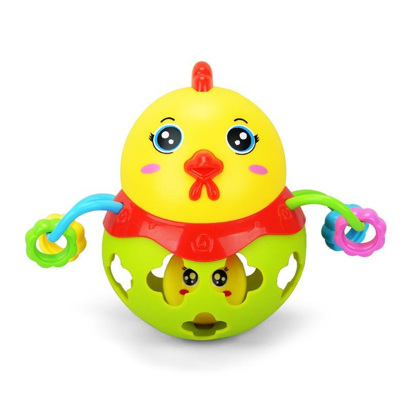 嬰兒玩具健身球軟膠搖鈴扣洞嬰幼兒玩具益智玩具單隻裝