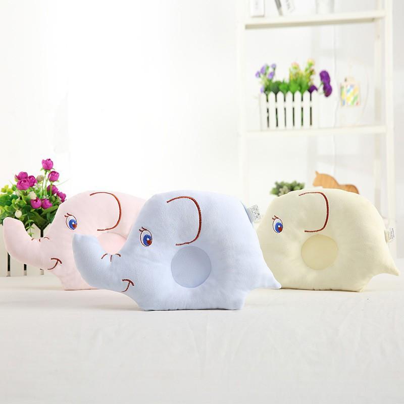 新款 可愛鑽石絨柔軟舒適大象嬰兒定型枕 繡花定型枕【IU貝嬰屋】