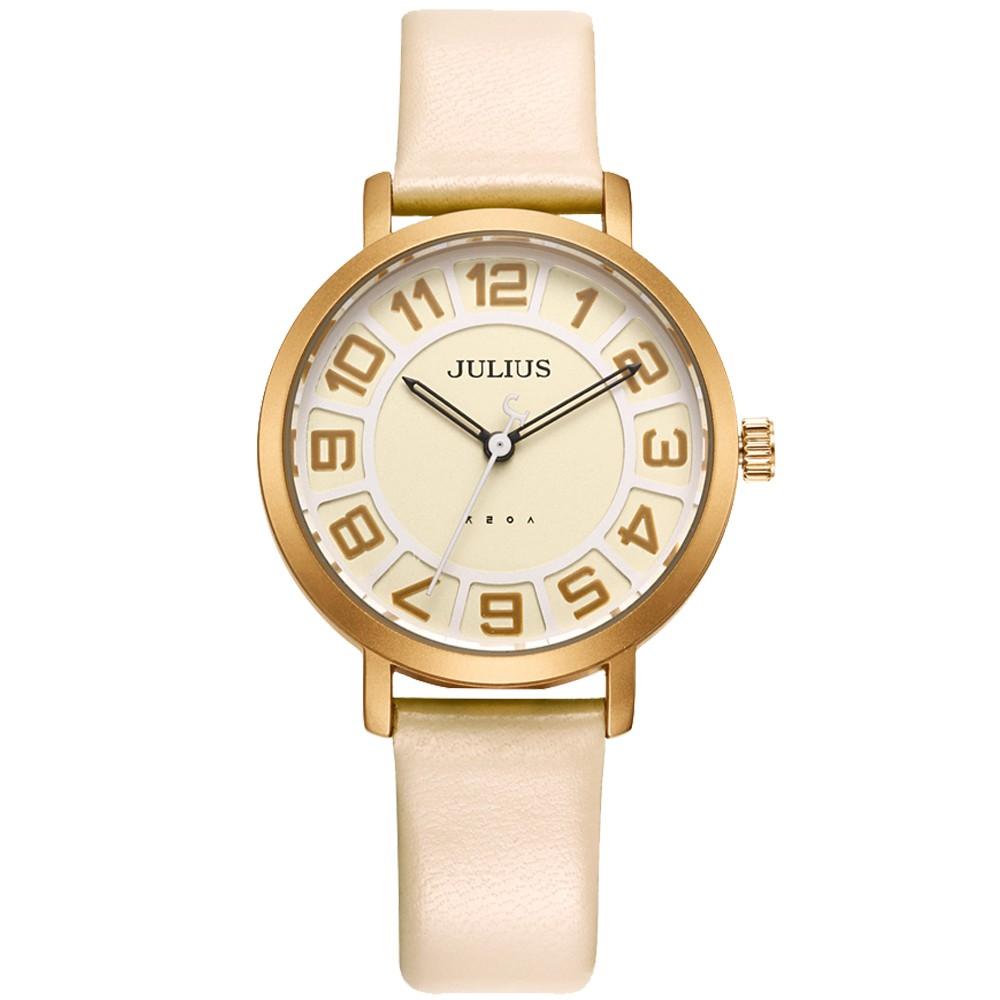 JULIUS聚利時 冒險漫遊時空簡約數字皮帶手錶 (32mm)四色