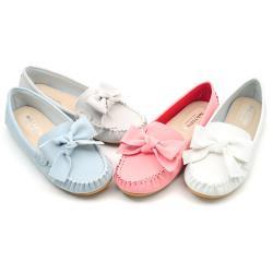 【 cher美鞋】MIT真皮甜美馬可龍色系蝴蝶結質感舒適豆豆美鞋- 白色/水藍/灰色/桃色 07111106911-18
