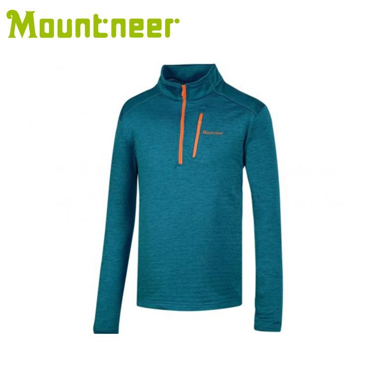 【Mountneer 山林 男雲彩針織保暖衣《土耳其藍》】32P03/高領/長袖/旅遊