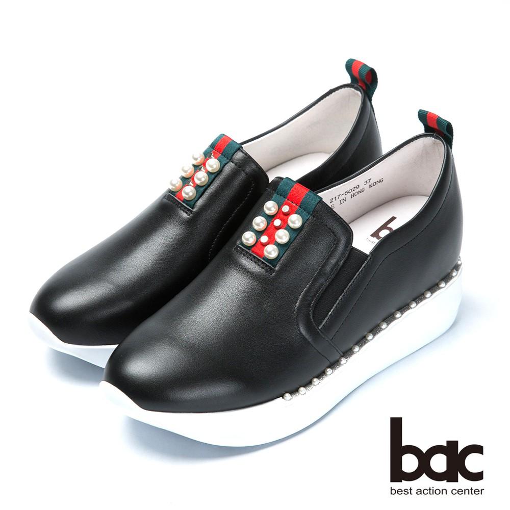 【bac】時尚樂活 珍珠點綴隱內增高休閒鞋 - 黑色