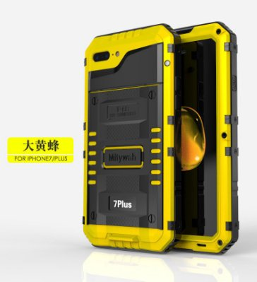 X/Xs i Phone 7-8 Plus黃色WAR WOLF-IP68全防水☆防摔鋁合金屬邊框背蓋手機殼保護殼+