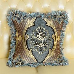 【協貿】高檔奢華歐式緹花工藝深藍色抱枕含芯