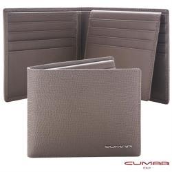 【CUMAR】義大利牛皮-時尚短夾-三層上下翻-灰岩系列