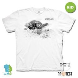 摩達客-預購-美國The Mountain保育系列小海龜 兒童幼兒 白色純棉短袖T恤