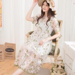 小尺碼-網紗繡花短袖洋裝+連身小可愛兩件式(氣質白)lingling