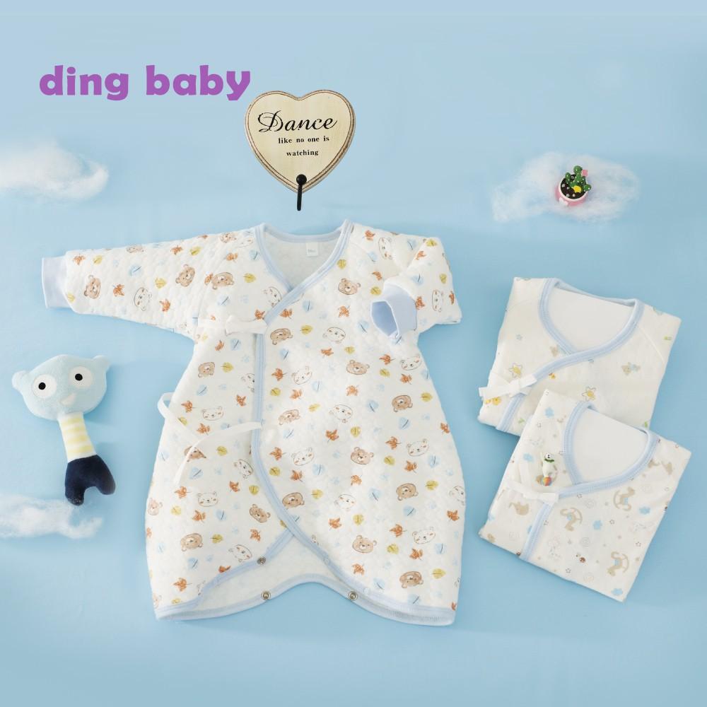 ding baby派對熊蝴蝶裝三入組-藍(50-60cm) 台灣製 小丁婦幼