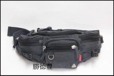 勝德豐【潮流】高級帆布可斜背兩用多格層腰包斜背包側背包#2076灰色