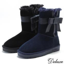 【Deluxe】甜蜜雪國蝴蝶結暖暖絨毛麂皮雪靴(黑☆藍)-5826