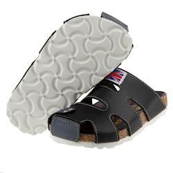 英倫風格黑色歐風兒童護趾涼鞋(16~21公分) [ T7H112D ] 黑色款