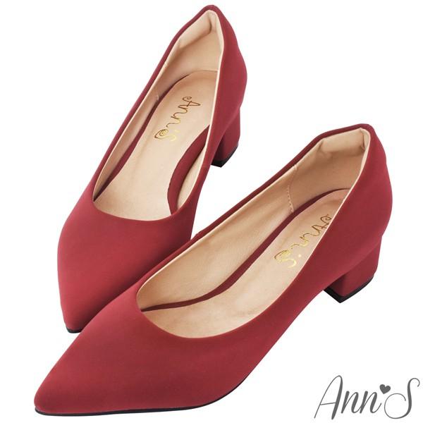 Ann'S 加上優雅低跟版 莫蘭迪色素面沙發後跟尖頭鞋 紅