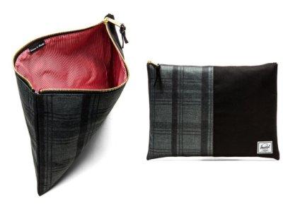 Hsin 6折 現貨 Herschel Network Pouch XL Plaid 黑色 灰紋 雜物 收納袋 化妝包