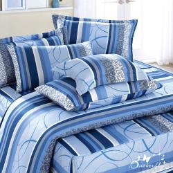 BUTTERFLY-台製40支紗純棉-薄式加大雙人床包枕套三件組-圈圈愛戀-藍