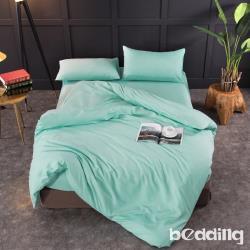 BEDDING-日式簡約純色系加大雙人薄式床包枕套三件組-碧綠色
