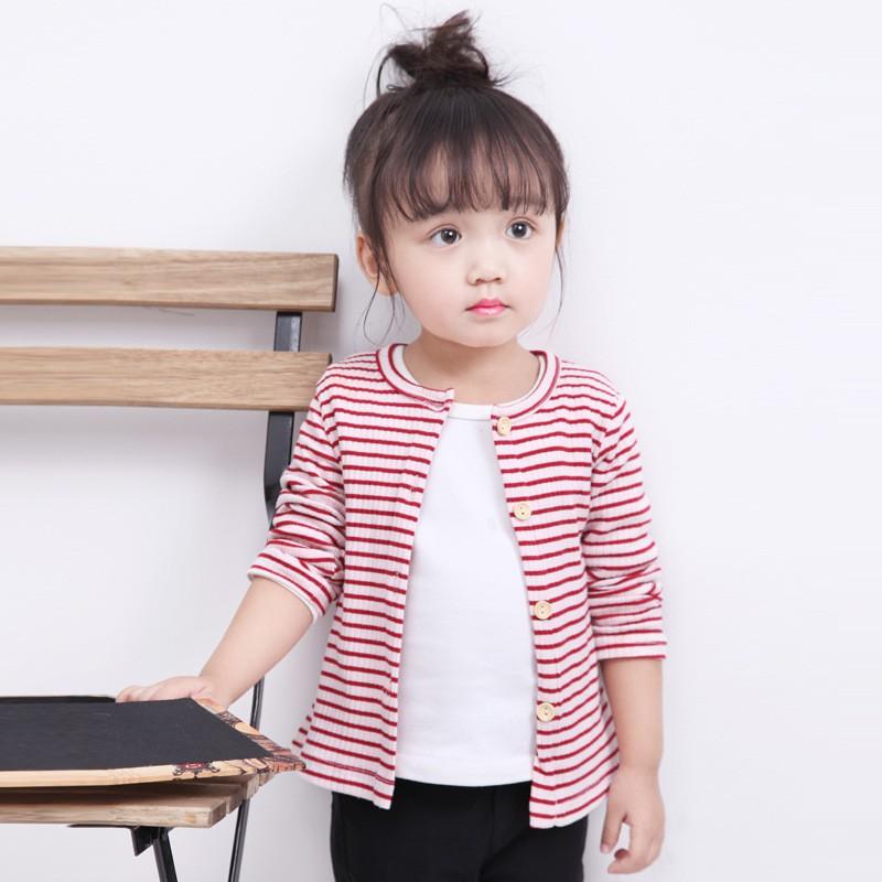 (La-19)秋季新品~寶寶款 可愛女孩長袖條紋針織鈕扣外套 A0