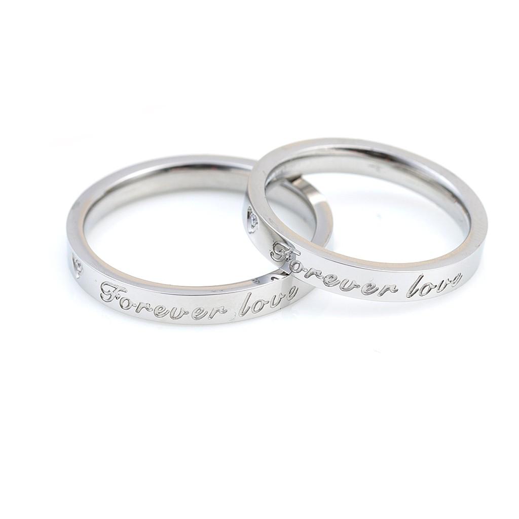 鋼戒戒指 15-17號 鈦鋼 防過敏 永遠愛Forever Love細款 簡約款 艾豆 NH7018