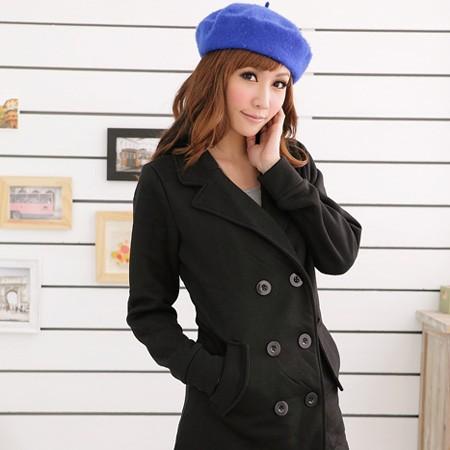 眼圈熊 中大尺碼 營造自信時尚雙排釦西裝領內刷毛收腰外套/大衣(黑.灰S-2L)-J87