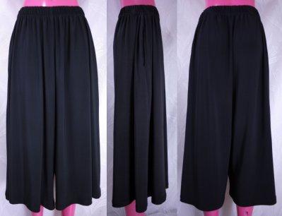 鴨米衣舖大尺碼時尚版黑色大寬筒式七分褲裙腰圍26-50吋~正韓品