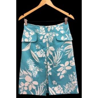 【中古】ビアッジョブルー Viaggio Blu スカート 台形 ボタニカル ひざ丈 2 水色 /FH30 レディース