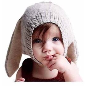 pomaikai ベビー 帽子 うさぎ 耳 ニット帽 男の子 女の子 新生児 誕生日 ギフト 記念 撮影(グレー, 01:グレー)