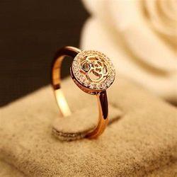 【米蘭精品】玫瑰金戒指鑲鑽銀飾時尚高貴大方流行73by16