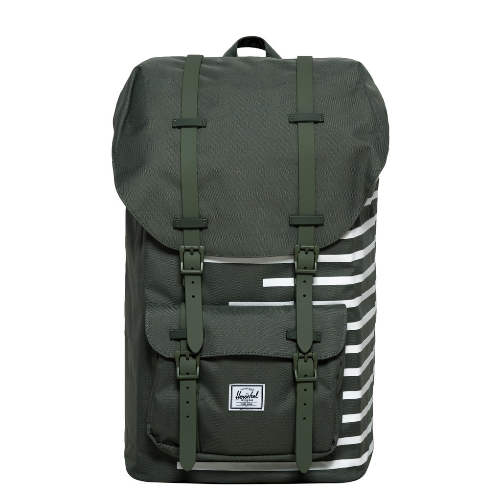 Herschel Little America 大型 草綠色 綠色 白條紋 橡膠帶 大容量 後背包 [現貨]