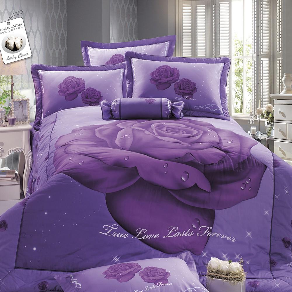 幸運草「卡洛琳」高級精梳純棉經典八件式床罩組-可包覆35cm