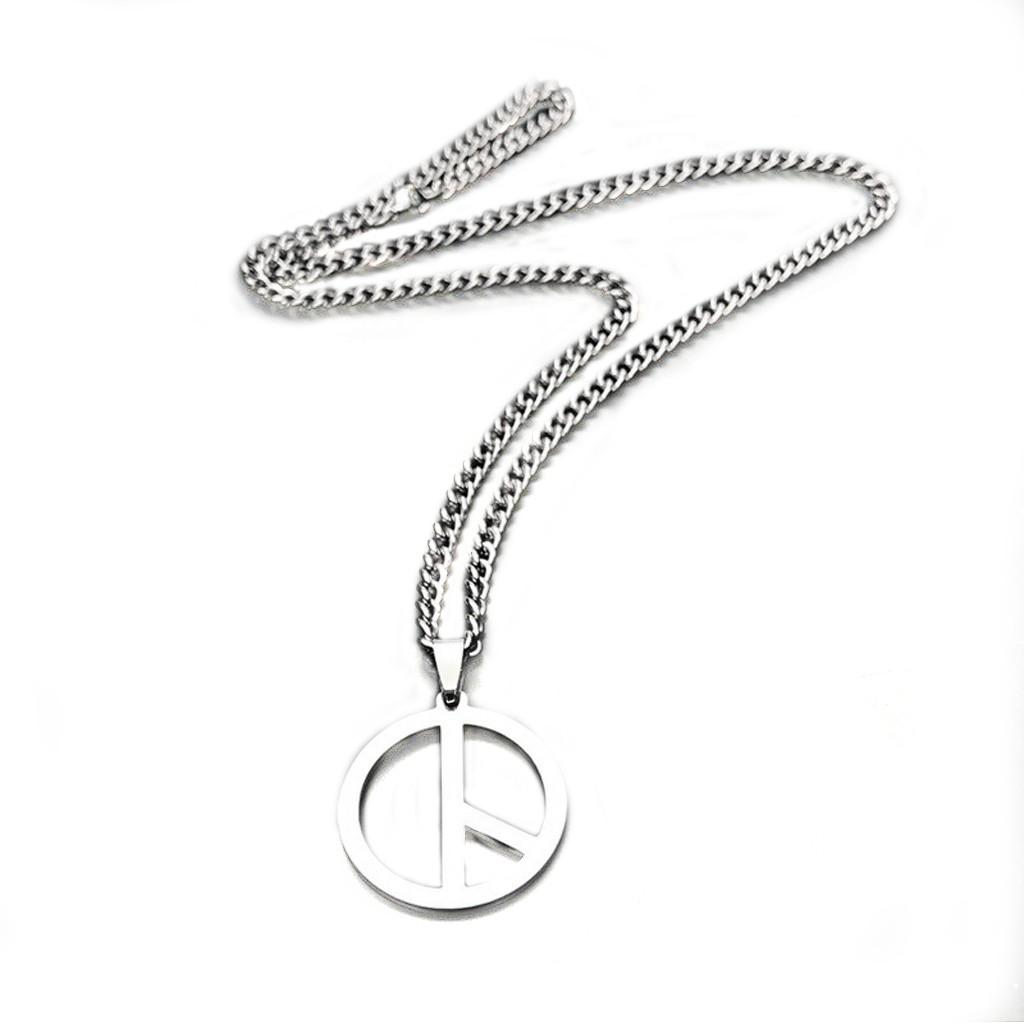 鋼項鍊 反戰 和平標誌 韓國明星同款 鈦鋼項鏈 可戴著洗澡 抗過敏 鋼鏈 艾豆『D3689』