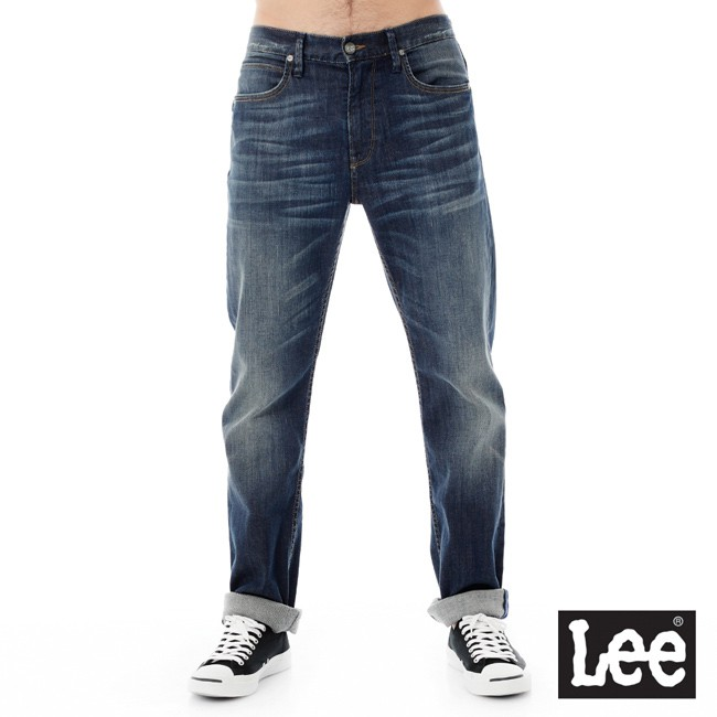 Lee 743 中腰舒適直筒牛仔褲 男 中深藍 Mainline