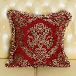 【協貿】奢華高檔時尚百搭雪尼爾提花紅色花邊抱枕含芯