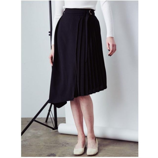 COTORICA. サイドプリーツ裾アシメスカート(ブラック)