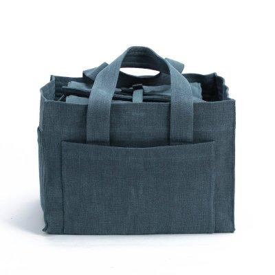 嵐雲茶業~高級棉麻茶具收納攜帶包-水洗麻孔雀藍