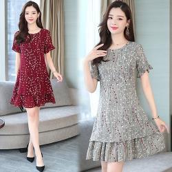 韓國K.W. (預購) 俏皮幸運焦點荷葉袖洋裝