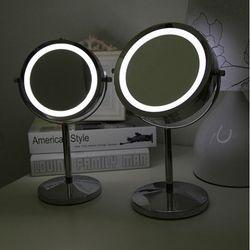 【協貿】6吋超亮LED燈鏡金屬帶燈化妝鏡台式雙面梳妝鏡