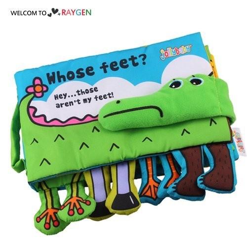 認識動物鱷魚布書 響紙 益智早教玩具
