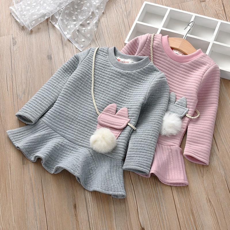 女童長袖連身裙女孩條紋可愛裙子 洋裝(配小挎包)