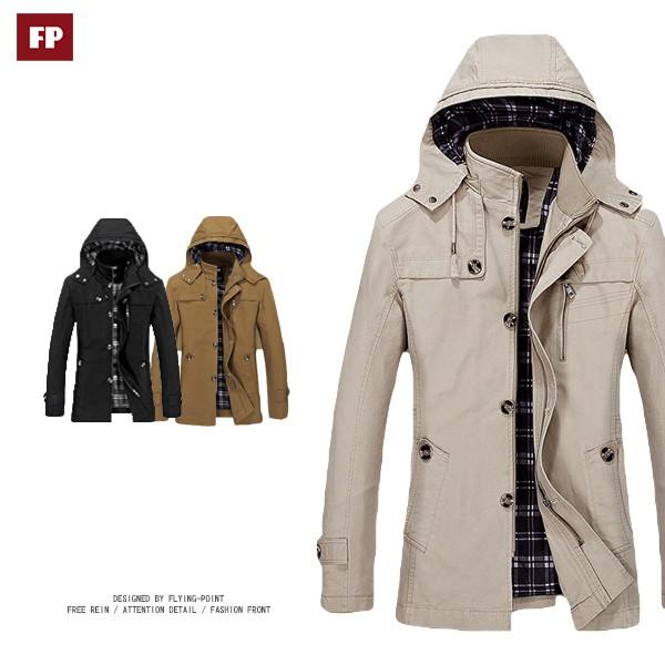 [防風外套]防風款大尺碼連帽外套正式休閒夾克防風外套風衣西裝大衣外套FP保暖外套【25-689】