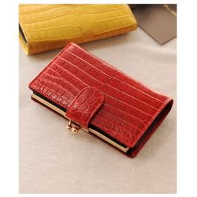 mieno 本物のクロコダイルレザー財布がま口 レッド