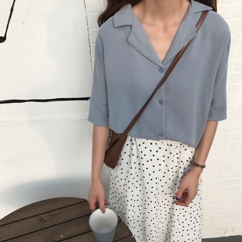 韓版夏季新款西裝領單排扣短袖襯衫女生上衣