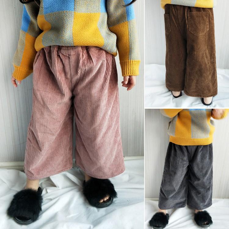 燈芯絨刷毛闊腿褲 寬褲 長褲 橘魔法 現貨在台灣 兒童 童裝 童 中童 男女童 闊腿褲【p0061178827409】