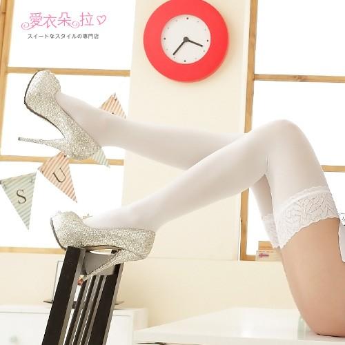 絲襪 微透膚膝上襪 COSPLAY絕對領域 黑色/白色