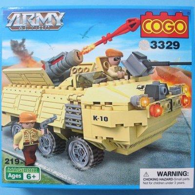 COGO 積高積木13329 導彈車積木 (中) 約219片入/一盒入{促500}可與樂高混拼~CF120875