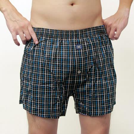 【BVD-快速到貨】全棉平口四角褲(時尚黑底藍格紋)