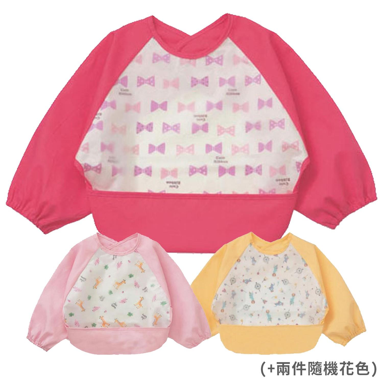 JoyNa - 【JoyNa】防水圍兜防髒吃飯衣反穿衣-三件入-紅色蝴蝶結+兩件隨機花色