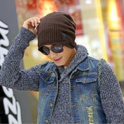 Acorn*橡果-韓系捲邊針織內裡絨毛套頭帽情侶帽1909(咖啡)