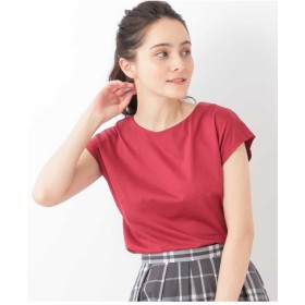 OFUON 【洗濯機で洗える】フレンチスリーブカットソー Tシャツ・カットソー,オレンジ
