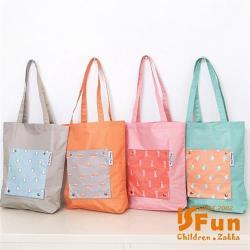 iSFun動物印花 輕便購物單肩背手提袋 4色可選